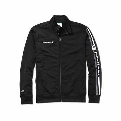 men s track jacket vertical logo