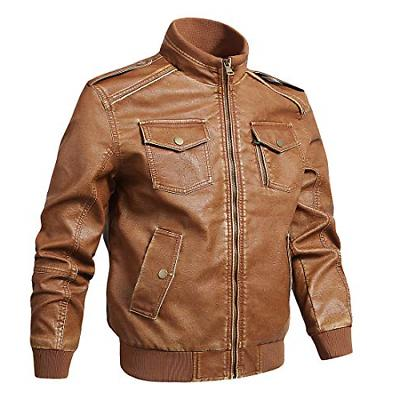 Nantersan Men's Vintage Stand Collar Biker Leather Jacket Di