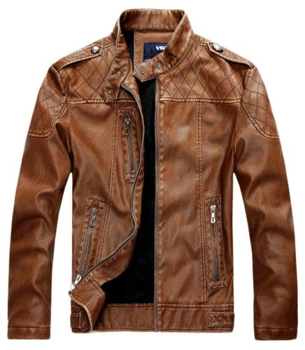 chouyatou Men's Vintage Stand Collar Pu Leather Jacket Mediu