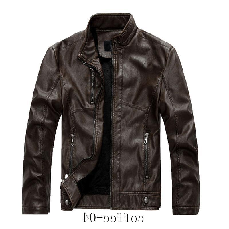 Chouyatou Men's Collar Zip Faux Leather Velvet Jacket