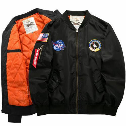 Men's Warm NASA Flight Bomber Coat Outwear*6