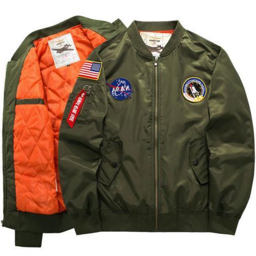 Men's Warm Winter US NASA MA1 Bomber Coat Jacket Outwear*6