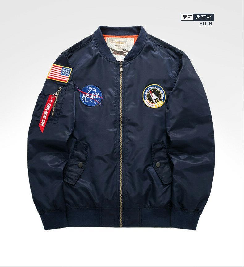 Men's Warm NASA MA1 Bomber Coat Outwear*6