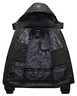 Wantdo Waterproof Jacket Windproof Ski Jacket US Black