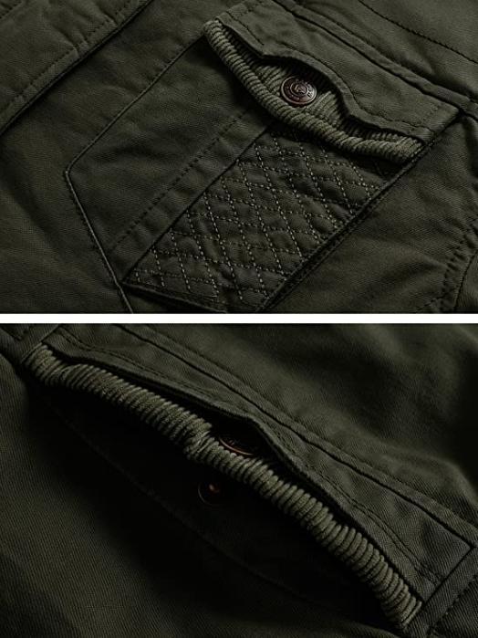 WenVen Fleece Jacket with Hood Thicken Coat Army NEW🔥