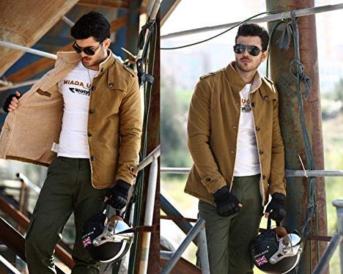 Vcansion Men's Winter Fleece Windproof Jacket Single Breasted Windbreaker Coats Yellow S