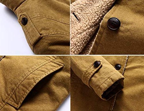 Vcansion Men's Winter Fleece Windproof Single Classic Cotton Windbreaker Jacket Khaki Yellow S