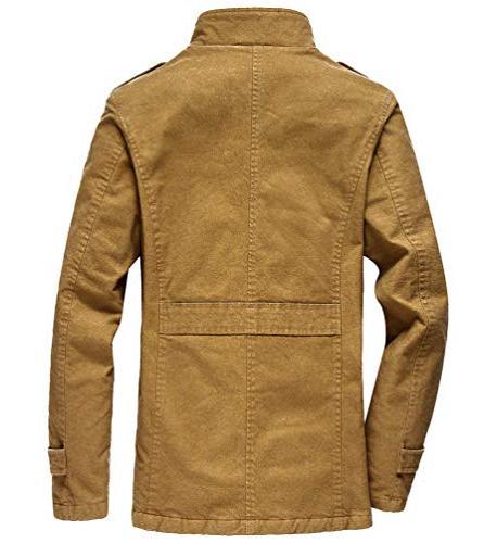 Vcansion Men's Windproof Jacket Wool Outerwear Single Classic Windbreaker Jacket Coats Yellow S