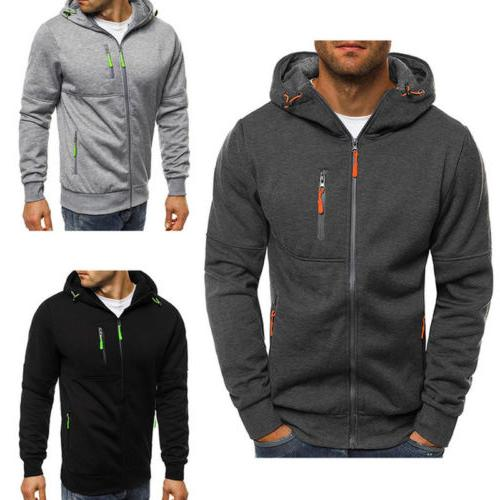 Men's Slim Fit Hooded Sweatshirt Sweater Warm Jacket