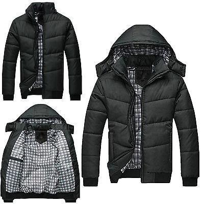 Men's Black Puffer Warm Overcoat Padded Hooded