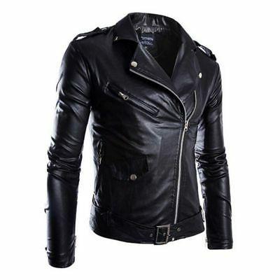 Men's Leisure Leather Jacket Biker Jackets Motorcycle Coat S