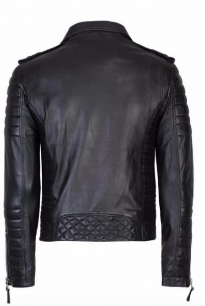 Men's Kids Leather Jacket Black Fit Coat