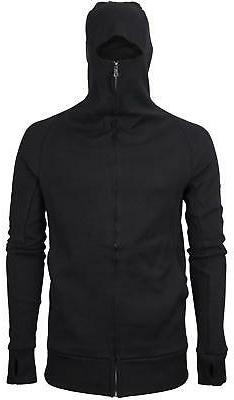 Men's Zip Up Thumbhole Ninja Turtleneck Skinny Fit Face Prot