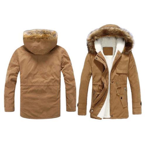 Men Trench Parka Collar Winter Warm Thicken Fur Jacket Hoode