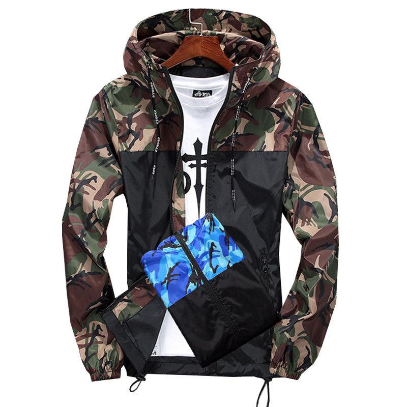 Men Windbreaker Outdoor Sport Raincoat Hoodie