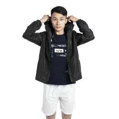Men Zipper Jacket Hoodie Light Casual Outwear Coat