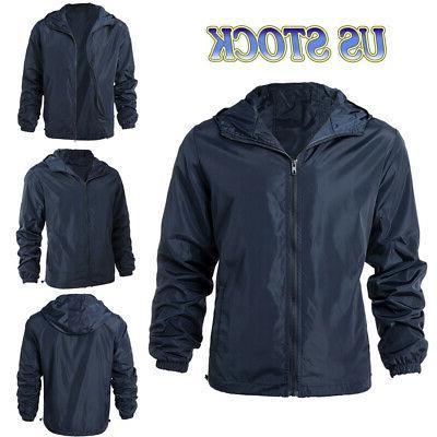 men waterproof windbreaker zipper jacket hoodie light