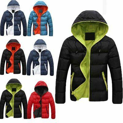 Men Down Coat Winter Thick Hoodie Outerwear Jacket Hooded Wa