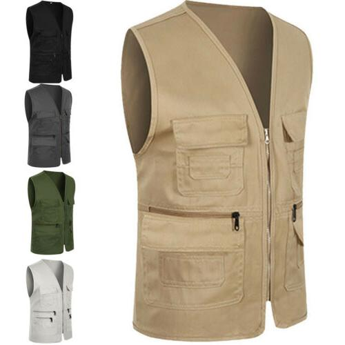 Men Zipper Multi Pocket Photography Director Vest Formal Tra