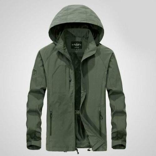 Mens 2019 Hooded Outdoor Windbreaker Outwear Rain Coat