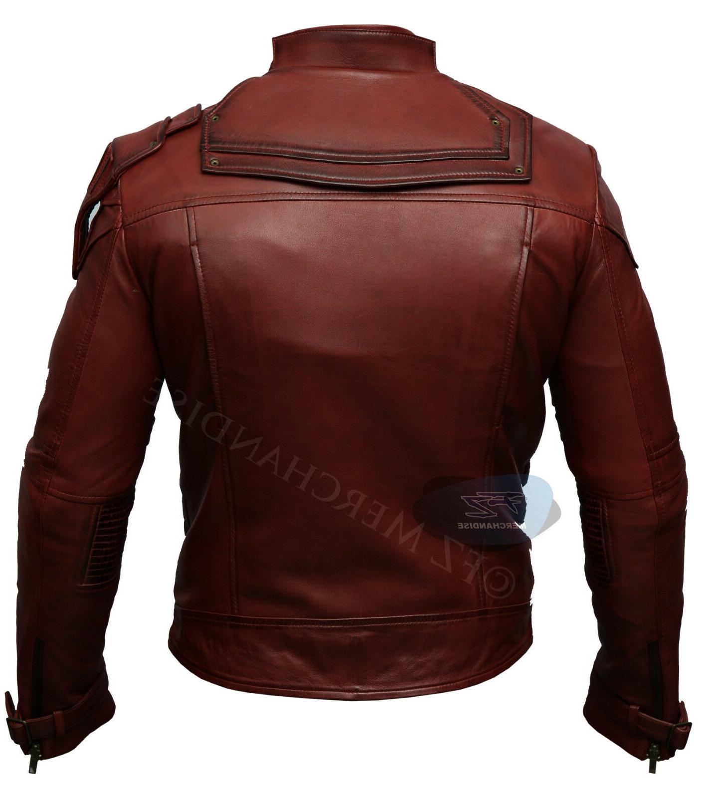 Mens Star Galaxy Vintage Biker Leather
