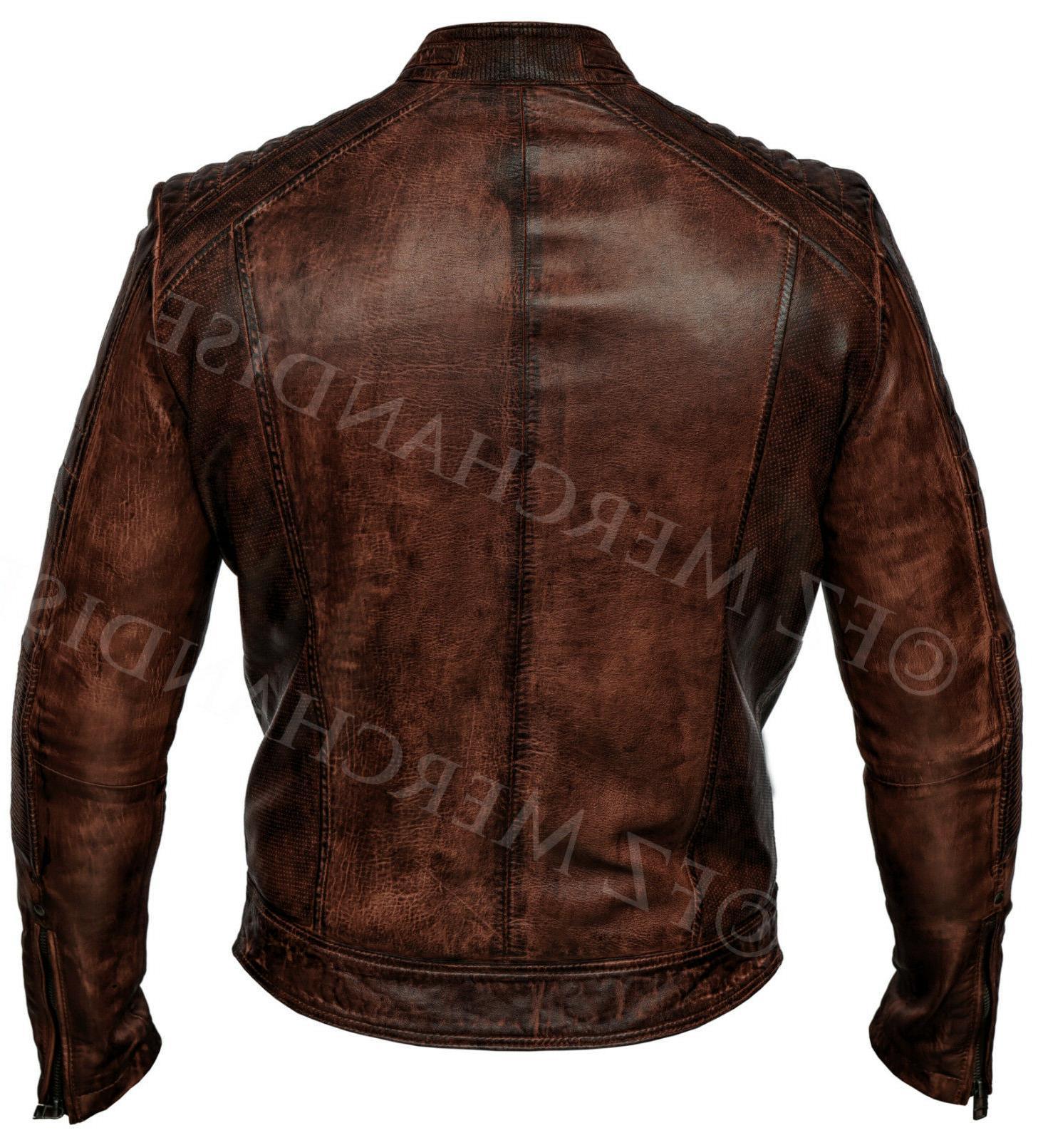 Mens Vintage Distressed Brown Leather