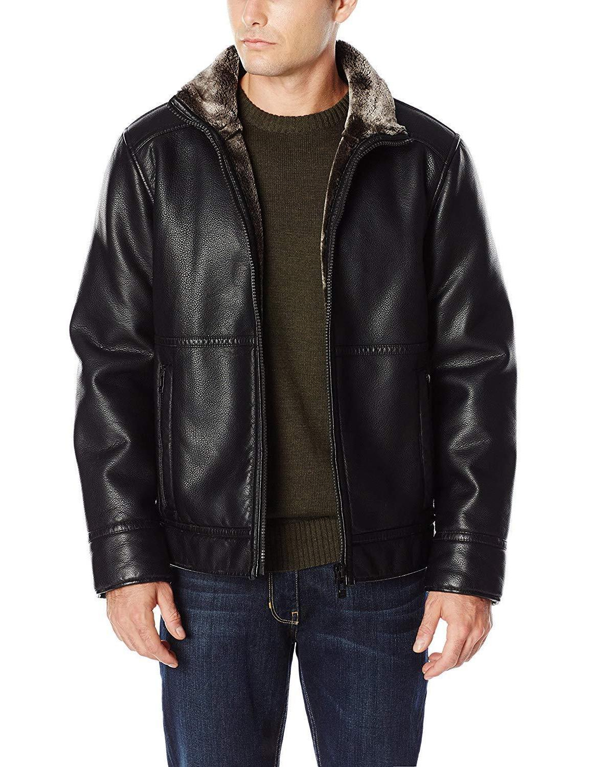 Calvin Klein Mens Black Pebbled Faux Leather Shearling Jacke