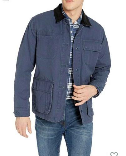 mens blue large barn jacket coat nwot