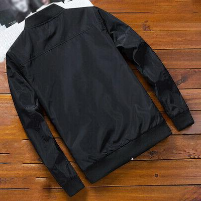 Mens Casual Fashion Bomber Jacket Warm Coat Slim Outwear