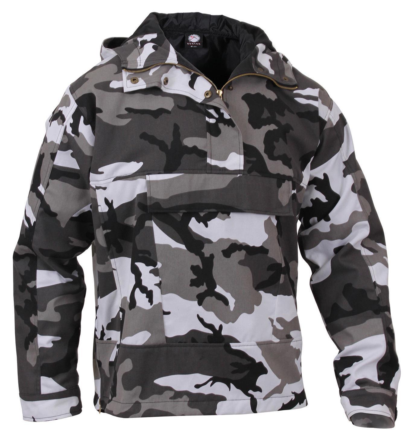 Mens City Urban Camo Anorak Parka Jacket Coat Camouflage Hoo