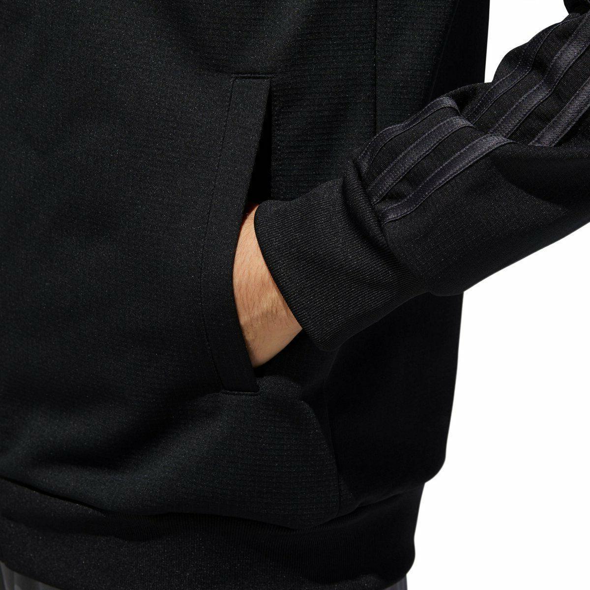 Mens Essential Track Jacket Black Zip Sleeve L-XXL