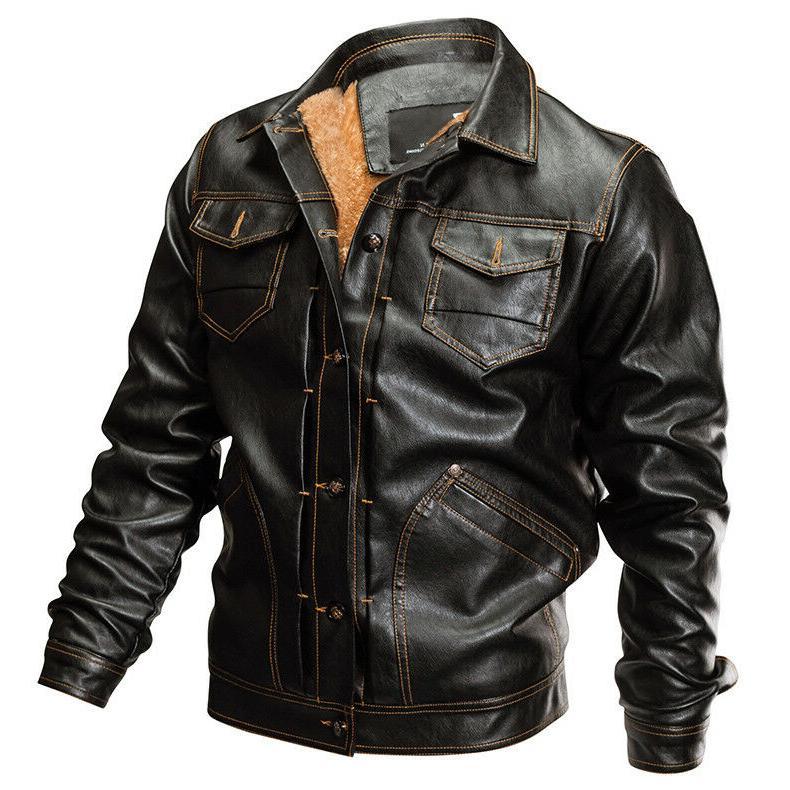 Mens PU Leather Bomber Coats Fleece Man