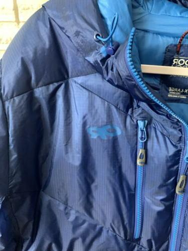 Outdoor Research Belay Jacket Down Hooded Blue