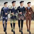 Mens Floral Printed Suit Jacket Slim Waistcoat Pant Party We