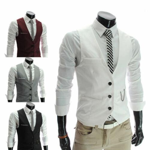 Mens Formal Business Slim Fit Chain Dress Vest Suit Tuxedo W