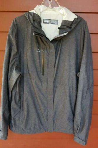mens gray rain hoody jacket sz l