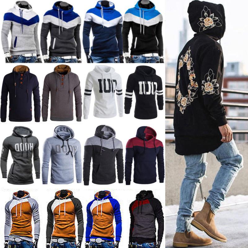 Mens Hoodies Pullover Coats Jacket Sweater Hooded Sweatshirt
