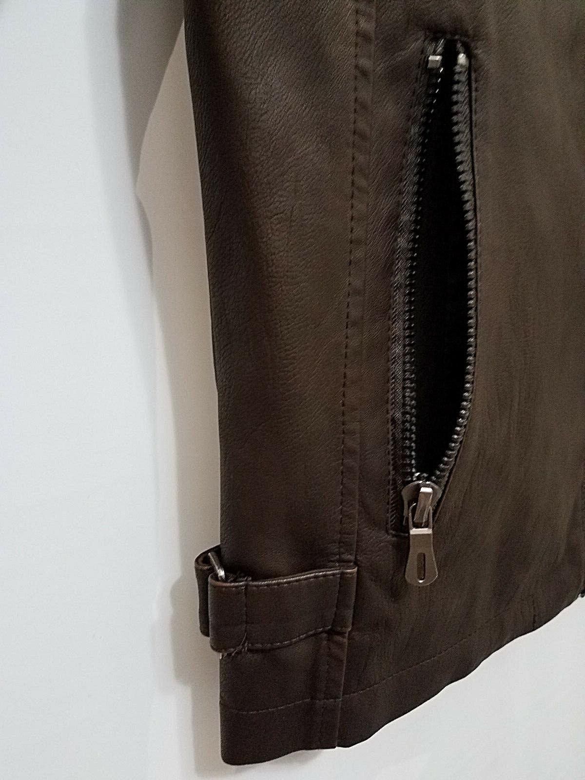 chouyatou Jacket Coffee Brown Vintage Faux Leather L