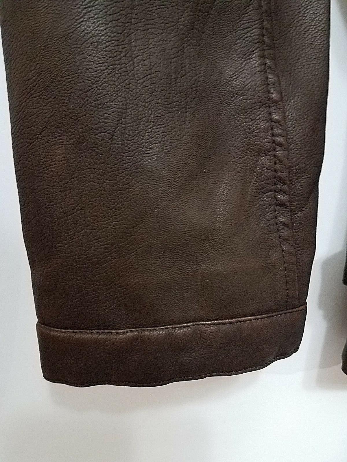 chouyatou Mens Brown Vintage Stand Faux jacket L