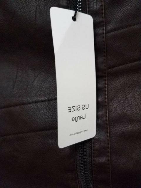 chouyatou Mens Jacket Brown Vintage Faux Leather jacket Sz L