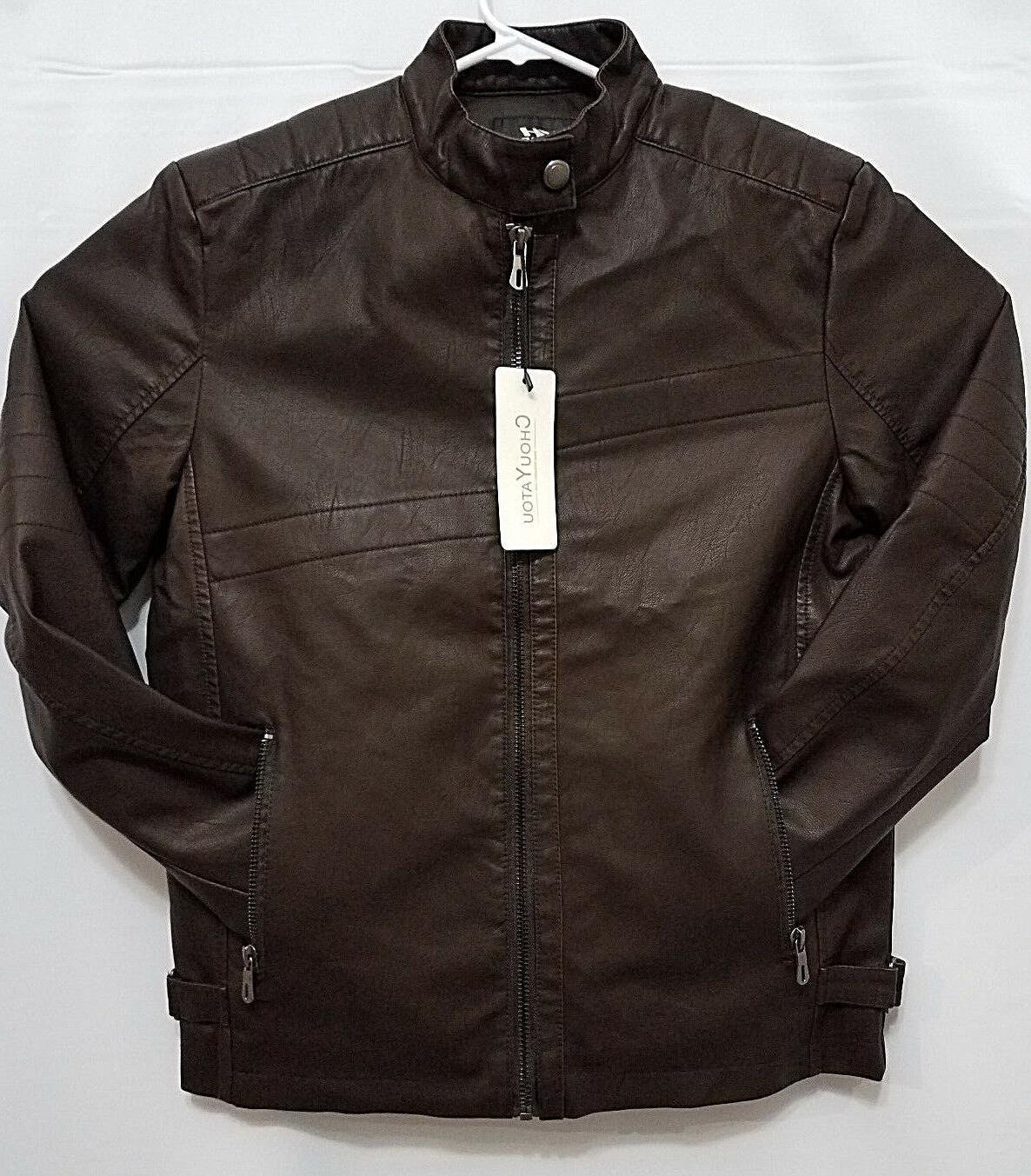 chouyatou Mens Brown Faux Leather L