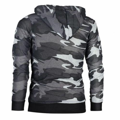 Mens Military Coat Fashion Sweater Tops Sweatshirts Camo Casual