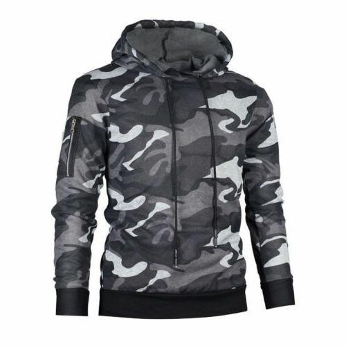 Mens Military Fashion Sweater Sweatshirts Camo