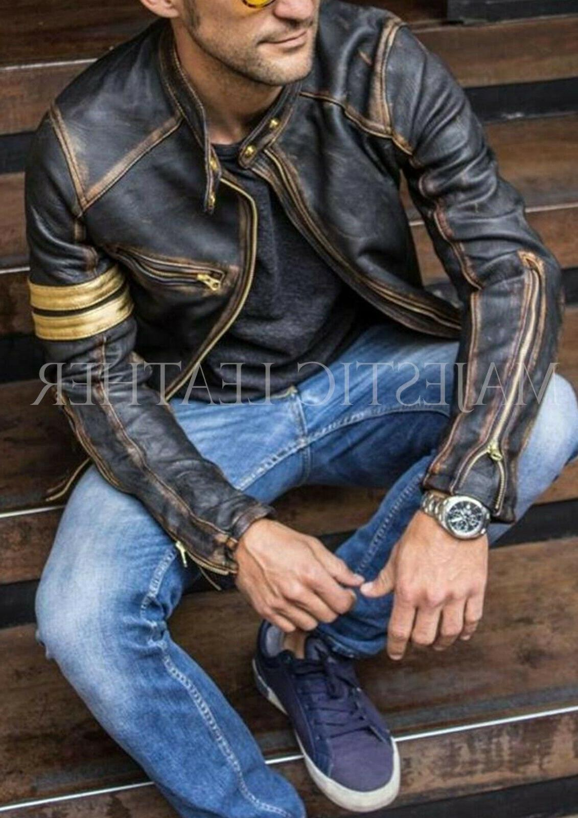 Men's Cafe Racer Distressed Black Real Jacket