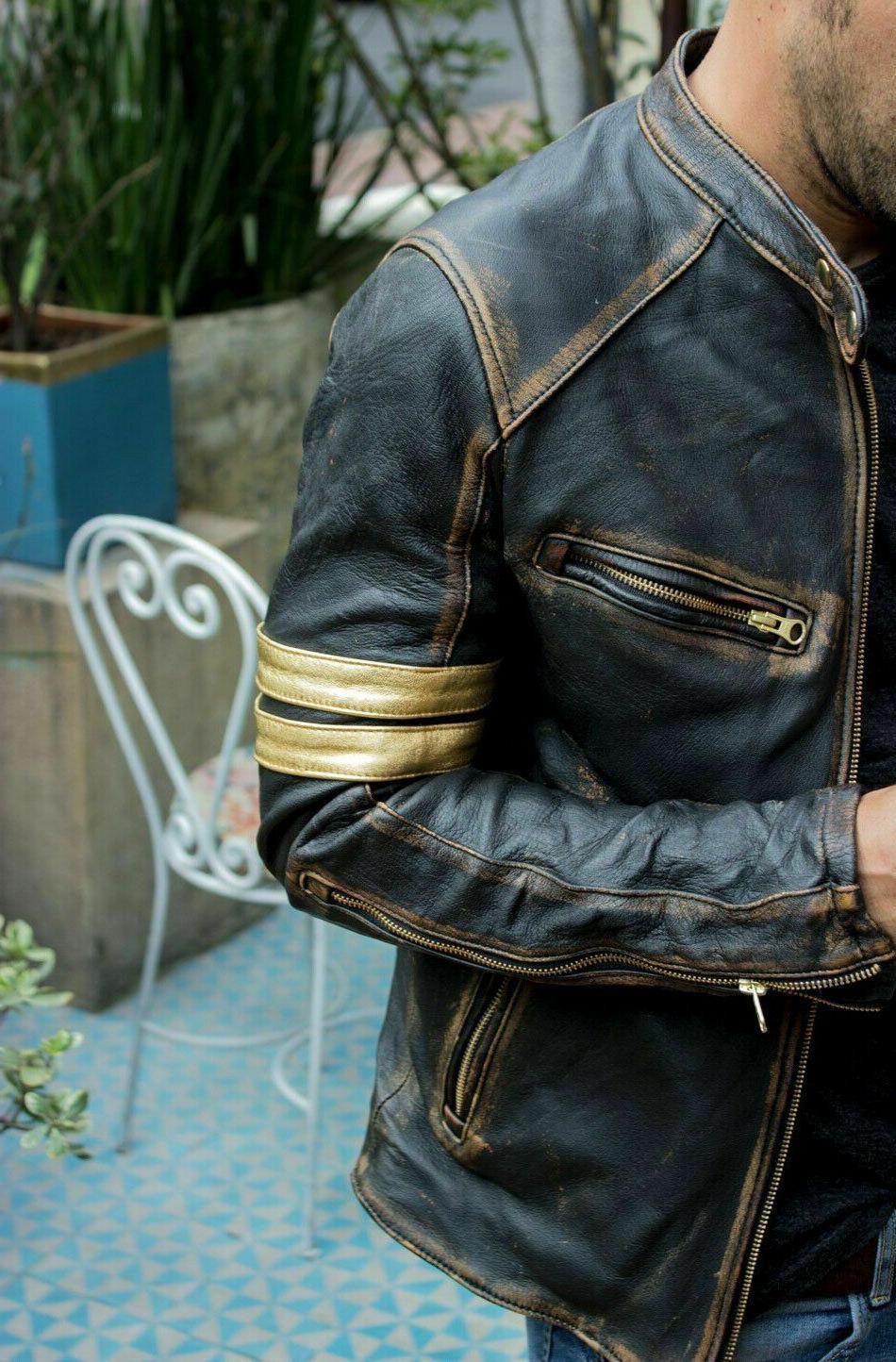 Men's Biker Cafe Racer Black Real Jacket
