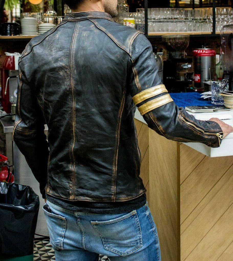 Men's Biker Vintage Cafe Racer Black Real Leather Jacket