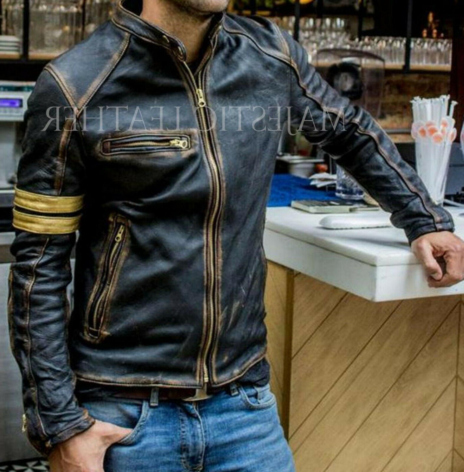 Men's Cafe Distressed Real Leather
