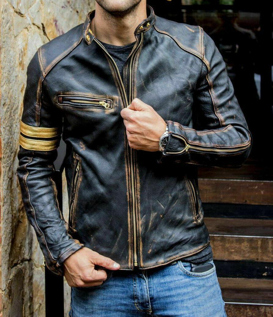mens motorcycle biker vintage cafe racer distressed
