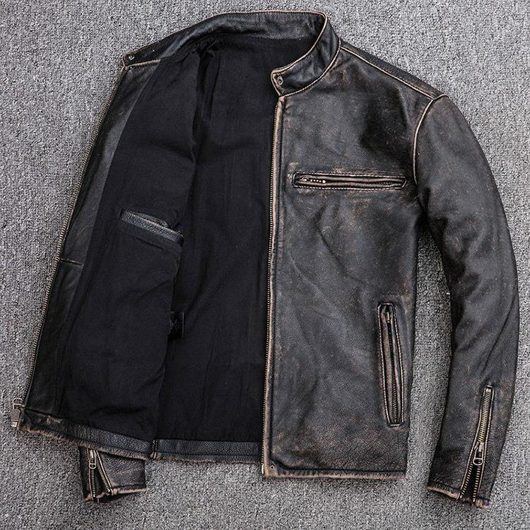 Men's Biker Vintage Distressed Real Leather Jacket