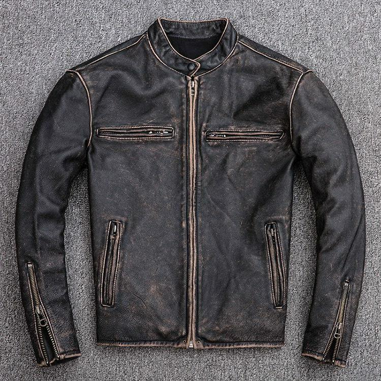 mens motorcycle biker vintage distressed black faded